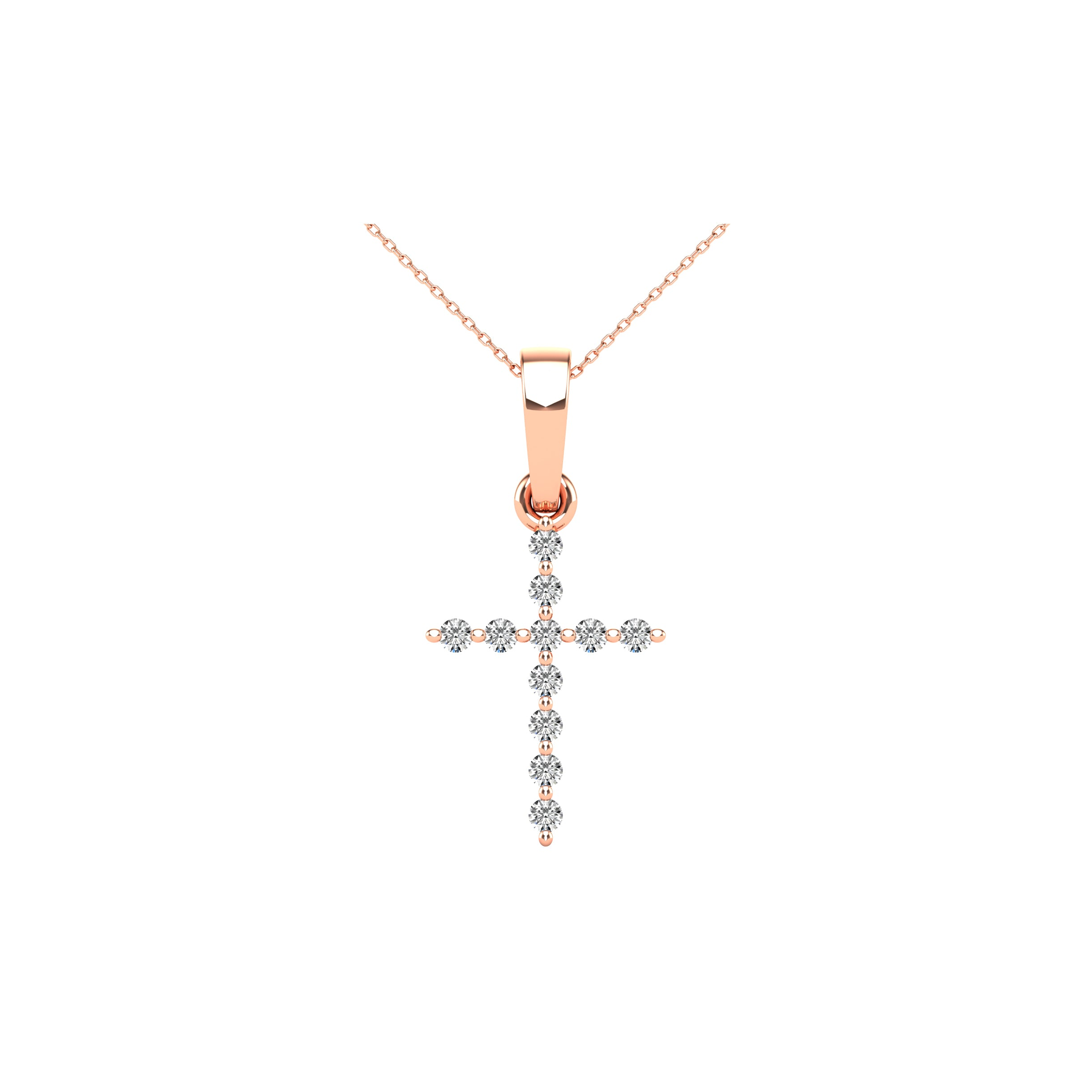 10K Rose Gold 1/20 Ct.Tw. Diamond Accent Cross Pendant