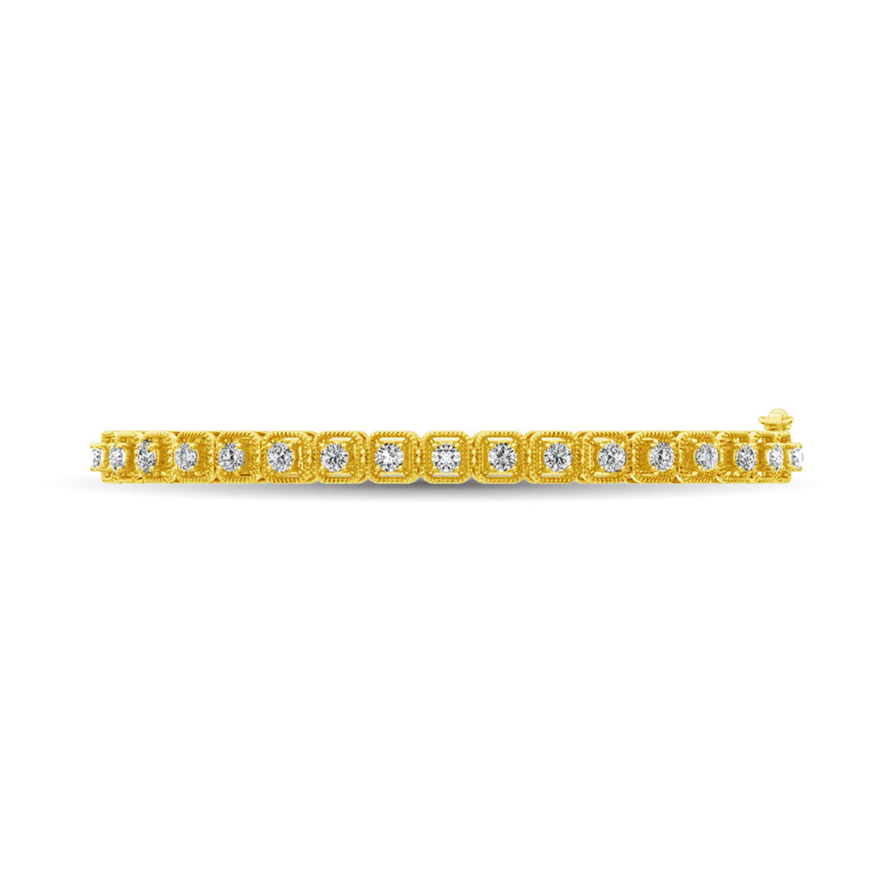 14K Yellow Gold Diamond 1 Ct.Tw. Bangle With Milgrain Details