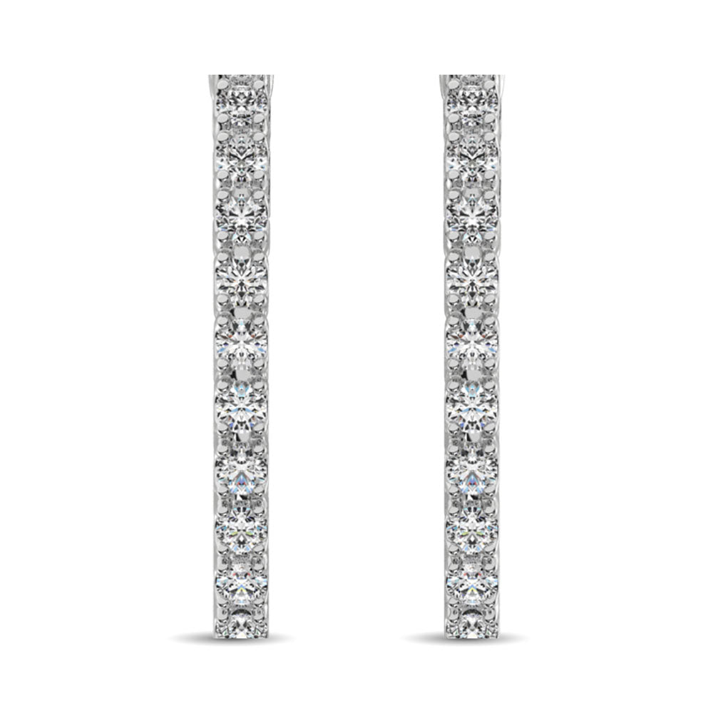14K White Gold Diamond 9/10 Ct.Tw. In and Out Hoop Earrings