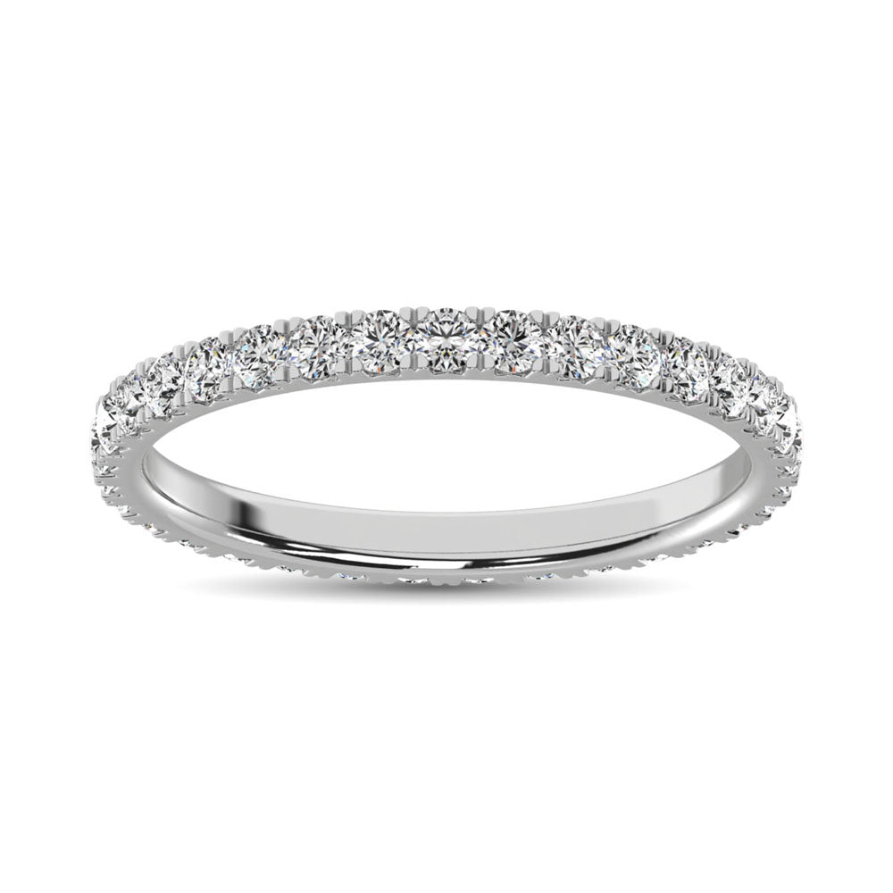 14K White Gold Diamond 5/8 Ct.Tw. 9 Stone Anniversary Band