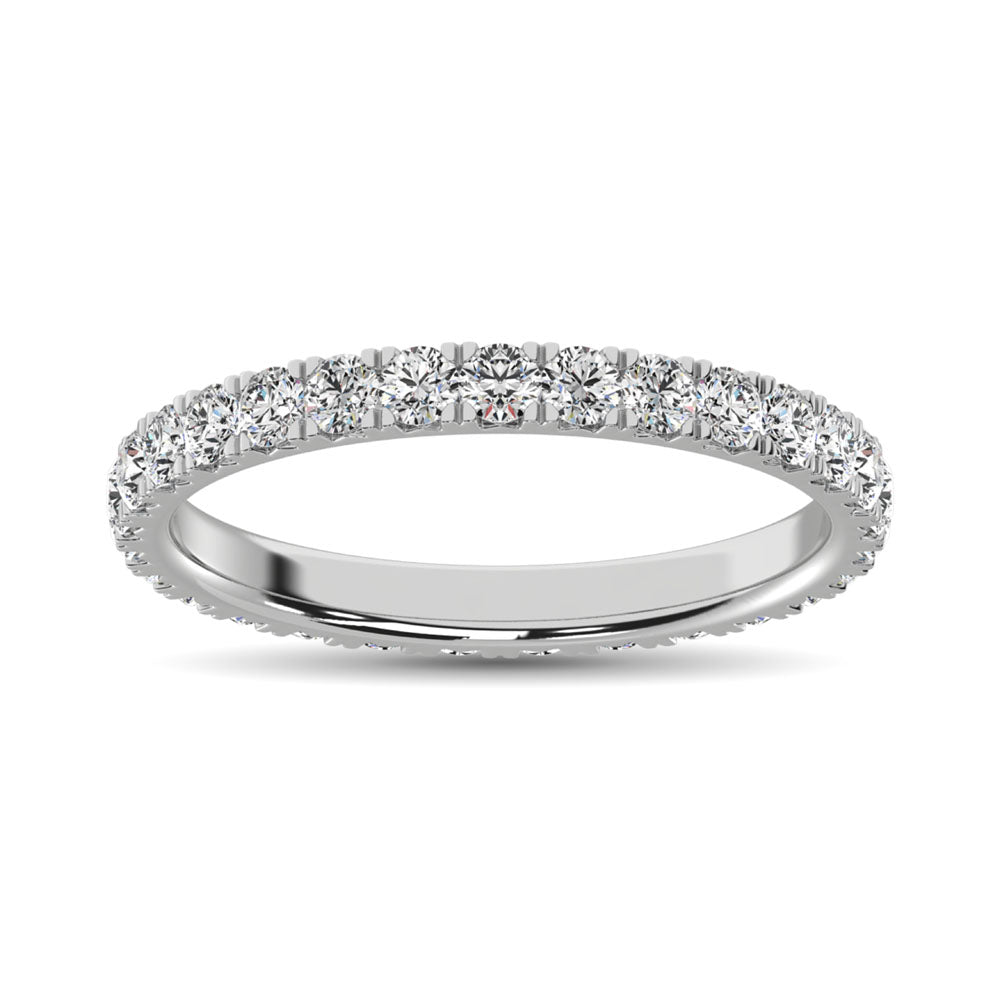 14K White Gold Diamond 7/8 Ct.Tw. 9 Stone Anniversary Band