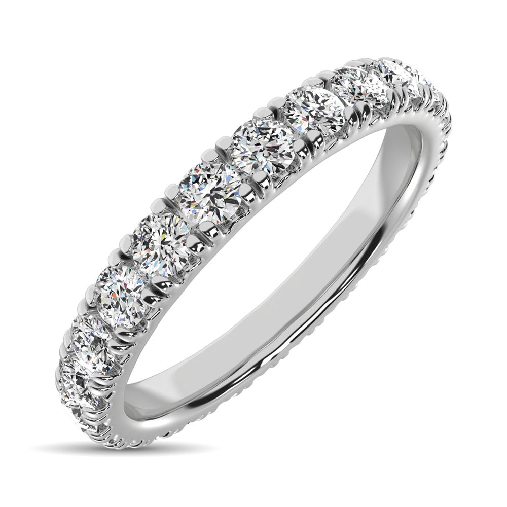14K White Gold Diamond 1 1/4 Ct.Tw. 9 Stone Anniversary Band