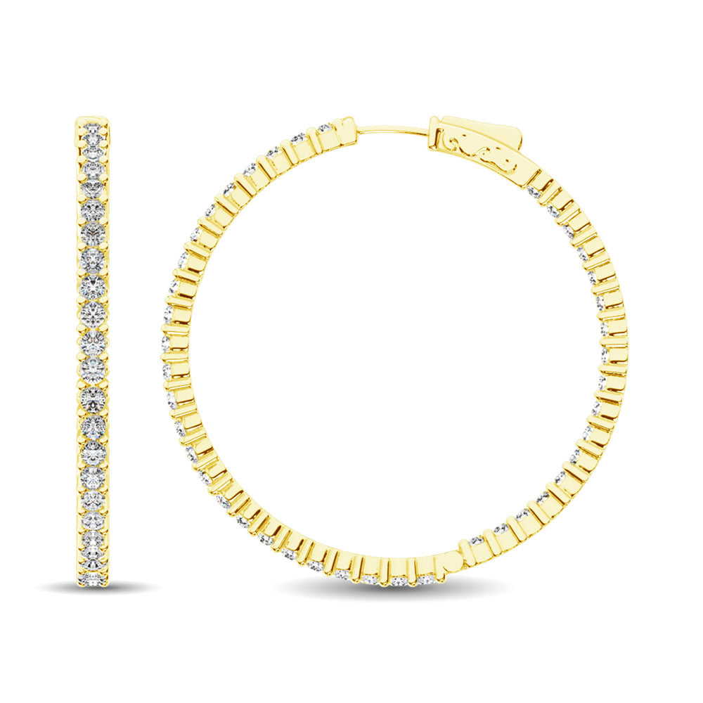 14K Yellow Gold Diamond 2 2/5 Ct.Tw. In and Out Hoop Earrings