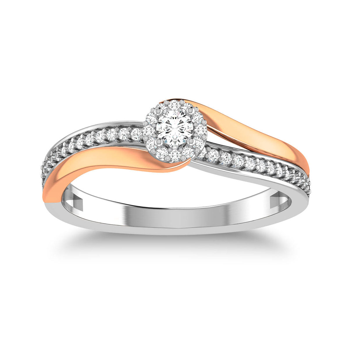 10K Two Tone 1/4 Ct.Tw. Diamond Twisted Ring