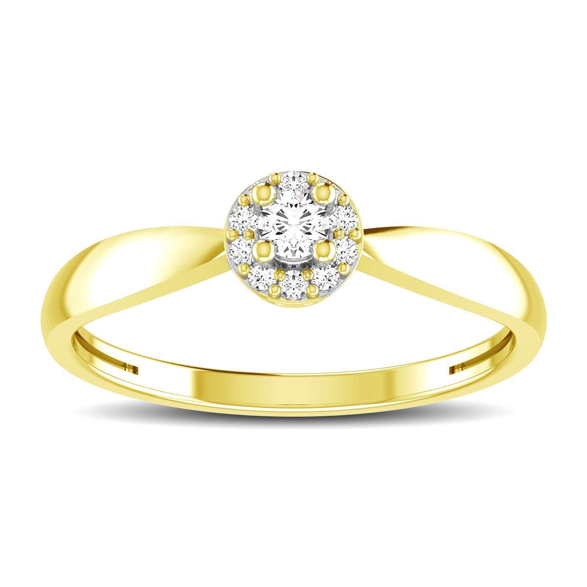 10K Yellow Gold 1/6 Ct.Tw. Diamond Twisted Ring