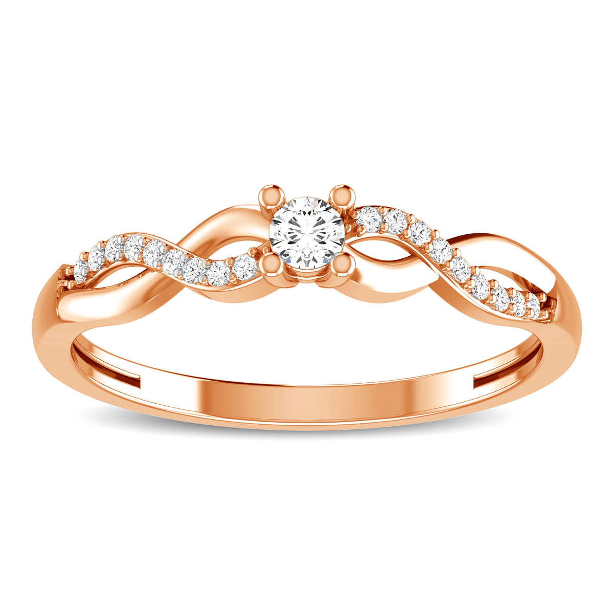 10K Rose Gold 1/6 Ct.Tw. Diamond Twist Ring