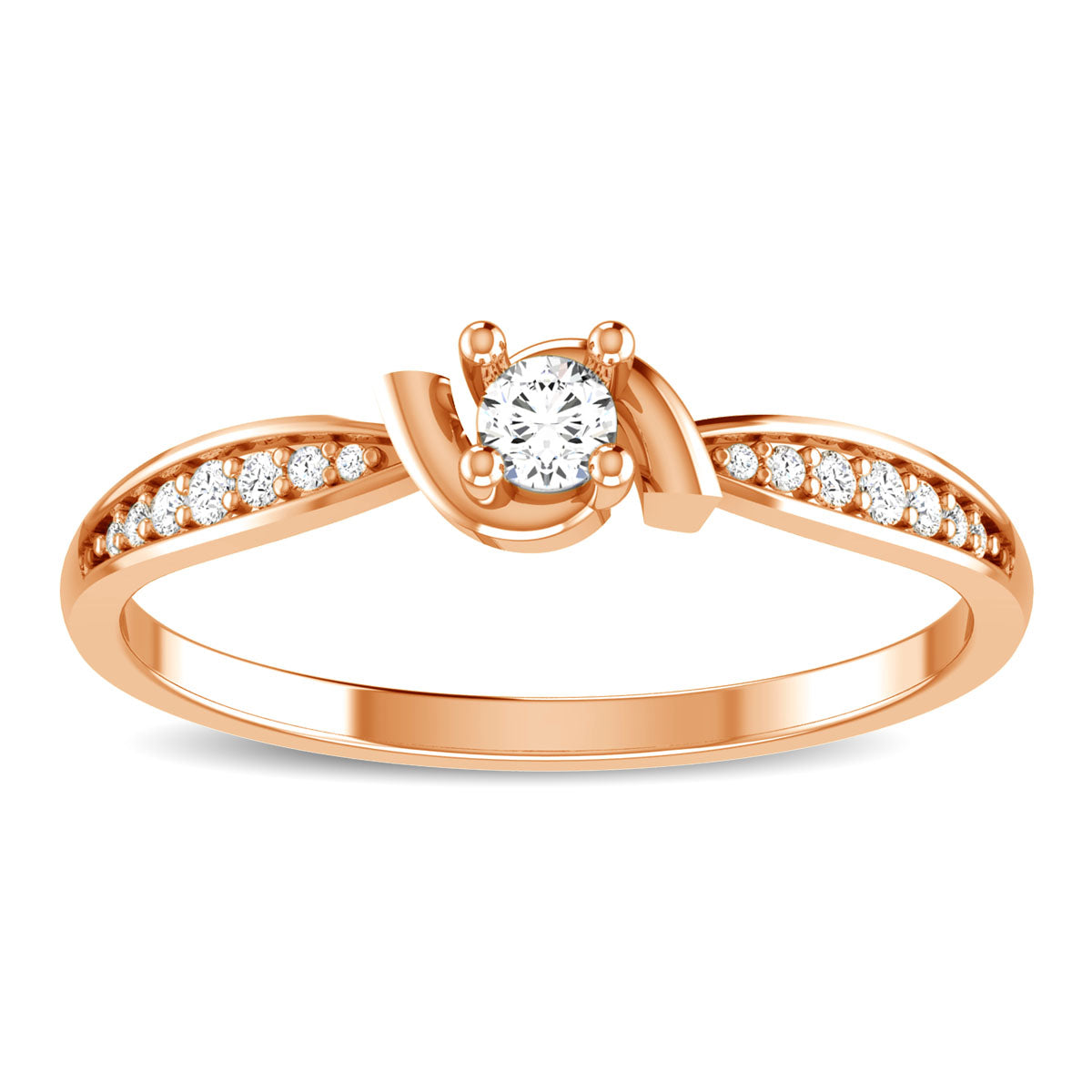 10K Rose Gold 1/6 Ct.Tw. Diamond Fashion Ring