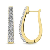 10K Yellow Gold Diamond 1 Ct.Tw. Classic Hoop Earrings