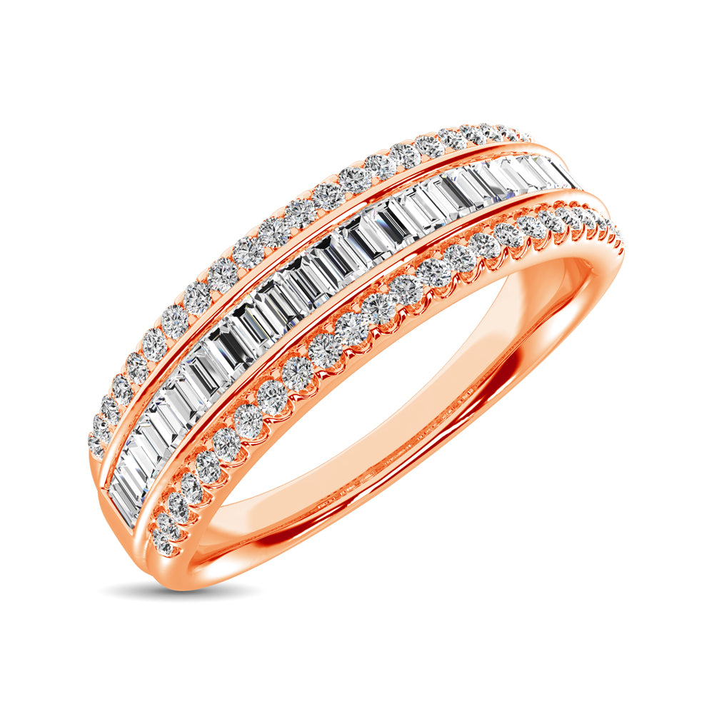 14K Rose Gold Round and Baguette Diamond 2/5 Ct.Tw. Anniversary Band