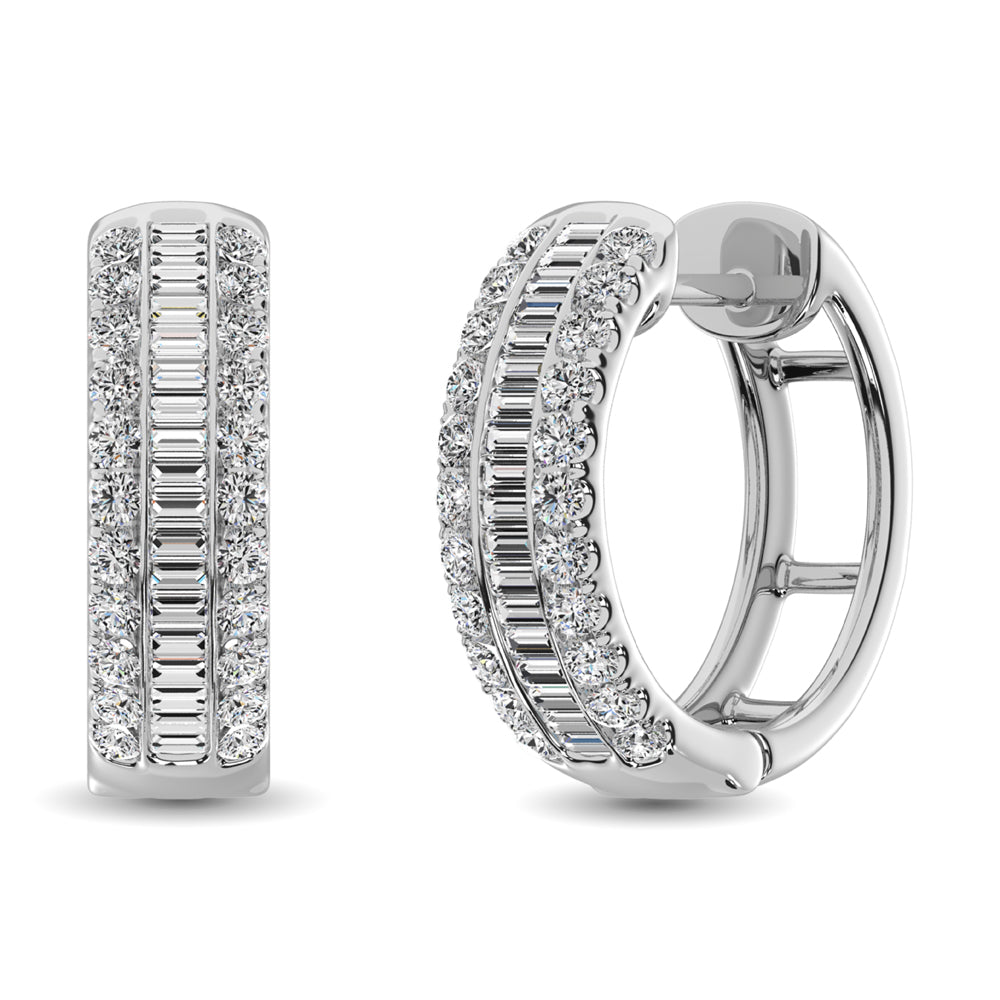14K White Gold Round and Baguette Diamond 1/2 Ct.Tw. Hoop Earrings