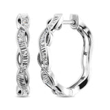 10K White Gold Baguette Diamond 1/5 Ct.Tw. Hoop Earrings