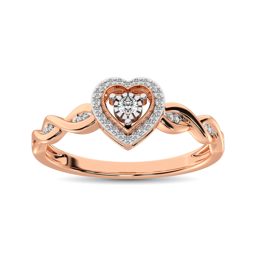 10K Rose Gold Diamond 1/10 Ct.Tw. Heart Ring