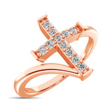 10K Rose Gold Diamond 1/8 Ct.Tw. Cross Ring