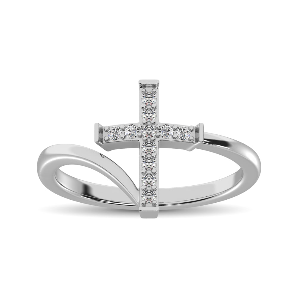 10K White Gold Diamond 1/8 Ct.Tw. Cross Ring