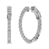 10K White Gold Diamond 1/2 Ct.Tw. In and Out Hoop Earrings