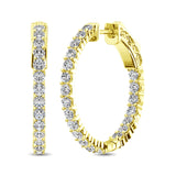 10K Yellow Gold Diamond 1/2 Ct.Tw. In and Out Hoop Earrings