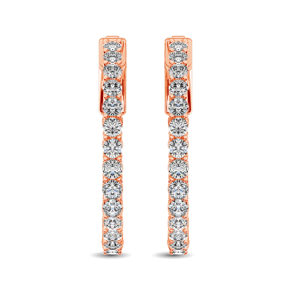 14K Rose Gold Diamond 2 Ct.Tw. In and Out Hoop Earrings