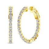 14K Yellow Gold Diamond 2 Ct.Tw. In and Out Hoop Earrings
