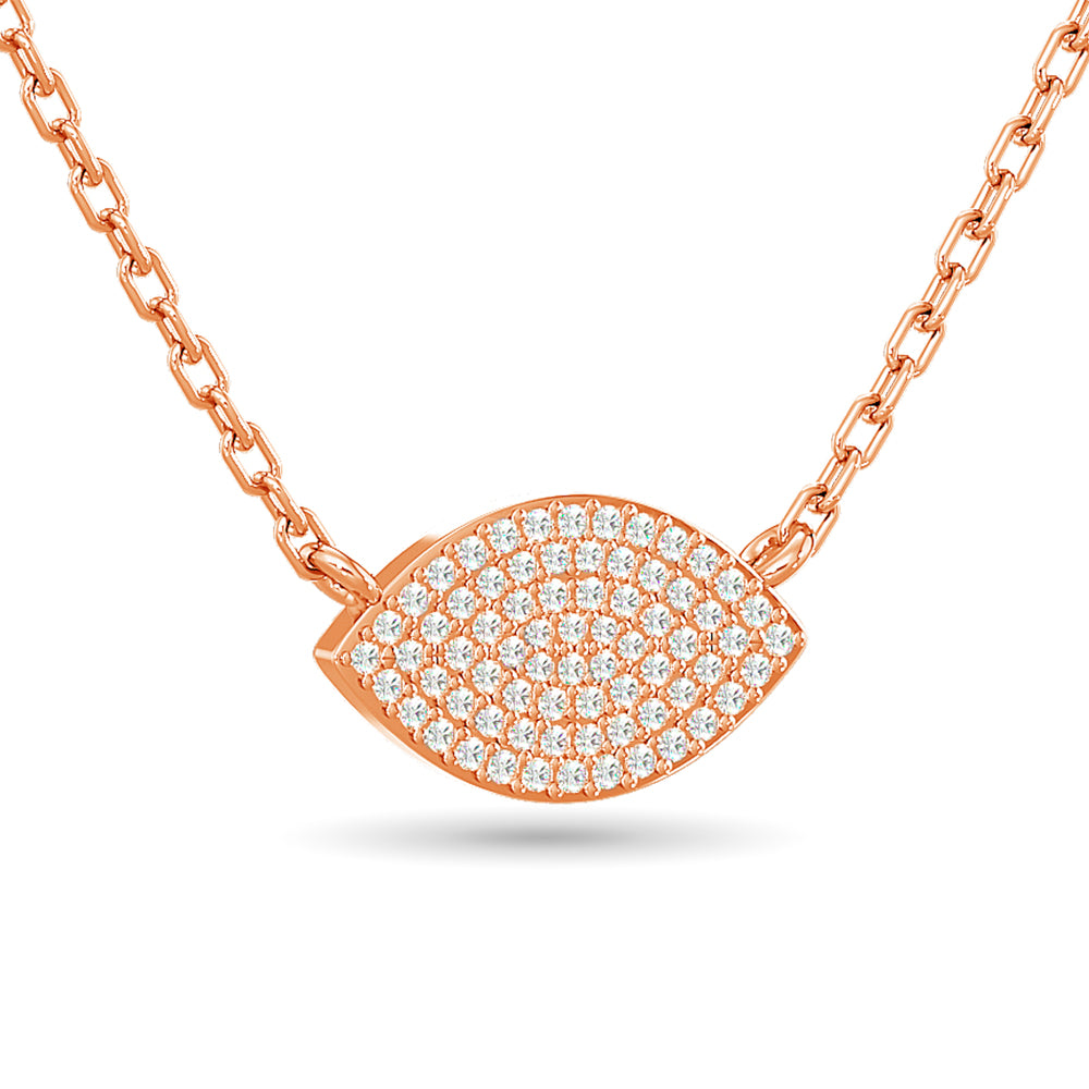Diamond Eye Shape Necklace 1/5 ct tw in 10K Rose Gold