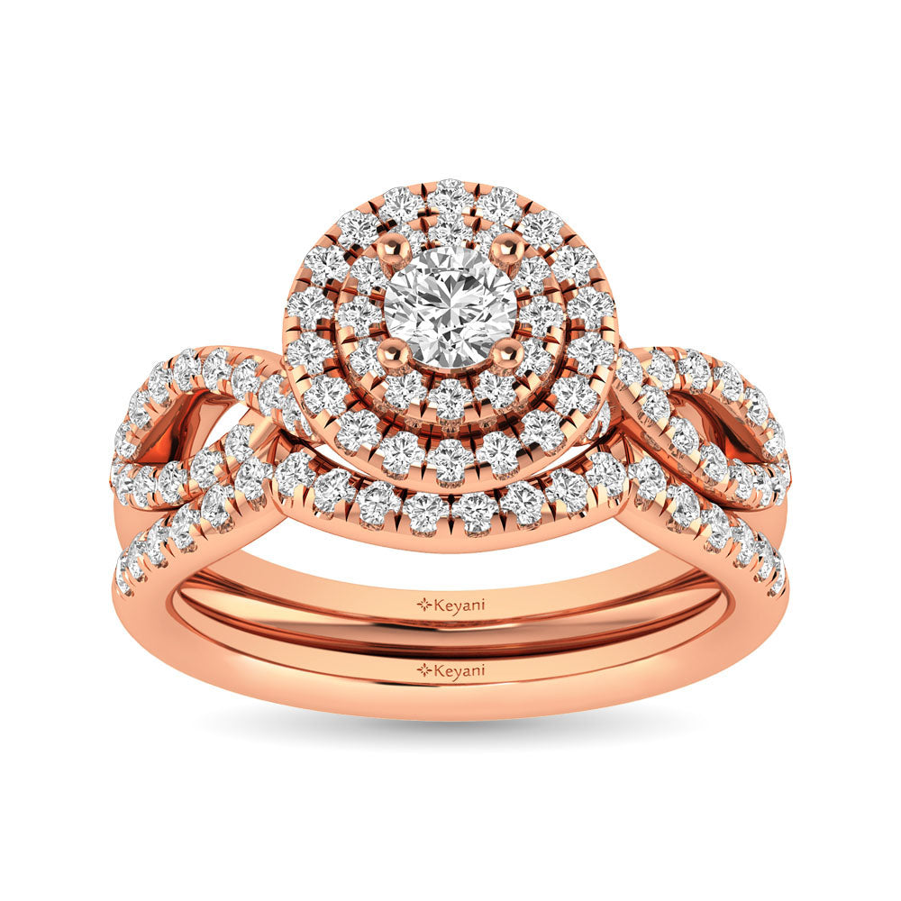 Diamond  Twist Shank Double Halo Bridal Ring 3/4 ct tw Round Cut in 14K Rose Gold