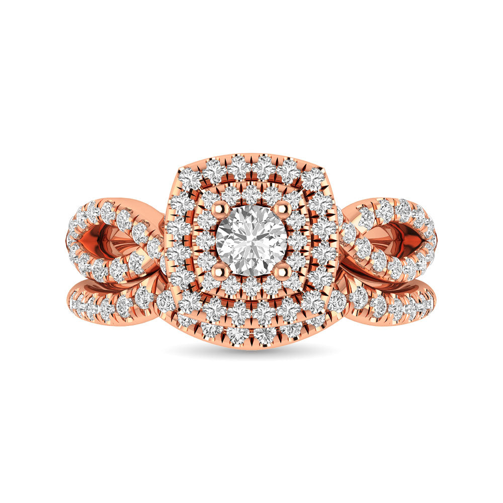 Diamond  Twist Shank Double Halo Bridal Ring 1 ct tw Round Cut in 14K Rose Gold
