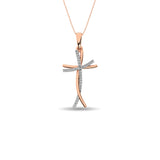 Diamond Cross Pendant 1/10 ct tw in 10K Rose Gold
