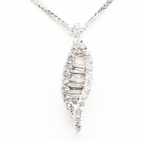 Leaf Style Pendant 0.52ct Round Diamonds & 0.67ct Baguette Cut Diamonds