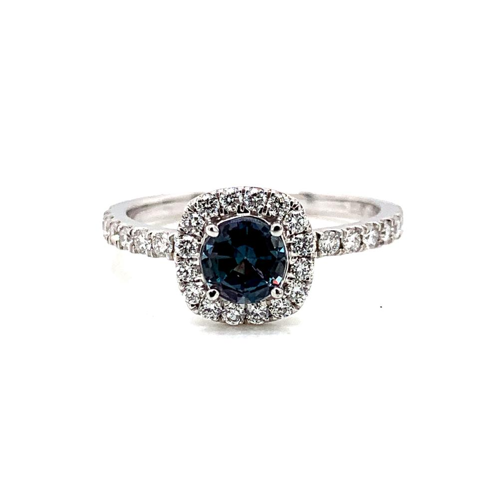 18k white gold ring with a GIA certified alexandrite