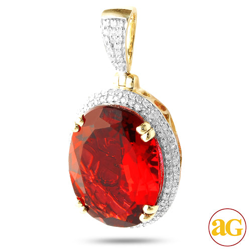 10KY 0.30CTW DIAMOND PENDANT WITH 7.97CT SYNTHETIC