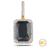 10KY 1.35CTW DIAMOND PENDANT WITH 36.20CT BLACK GE
