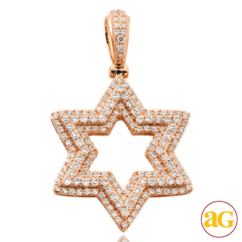 14KR 2.00CTW DIAMOND 'STAR OF DAVID' PENDANT
