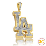 "10KY 1.20CTW DIAMOND SPORTS LOGO ""LA"" PENDANT"