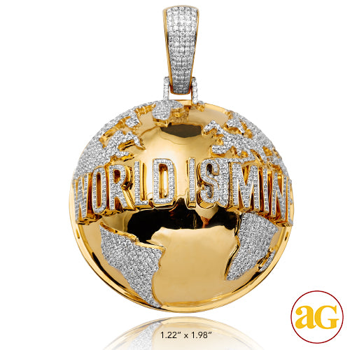 "10KY 5.20CTW DIAMOND HALF GLOBE PENDANT - ""WORLD"