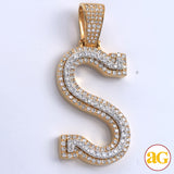 10KY+W 2.85CTW DIAMOND TWO TONE INITIAL PENDANT