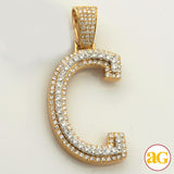 10KY+W 3.00CTW TWO TONE DIAMOND INITIAL PENDANT