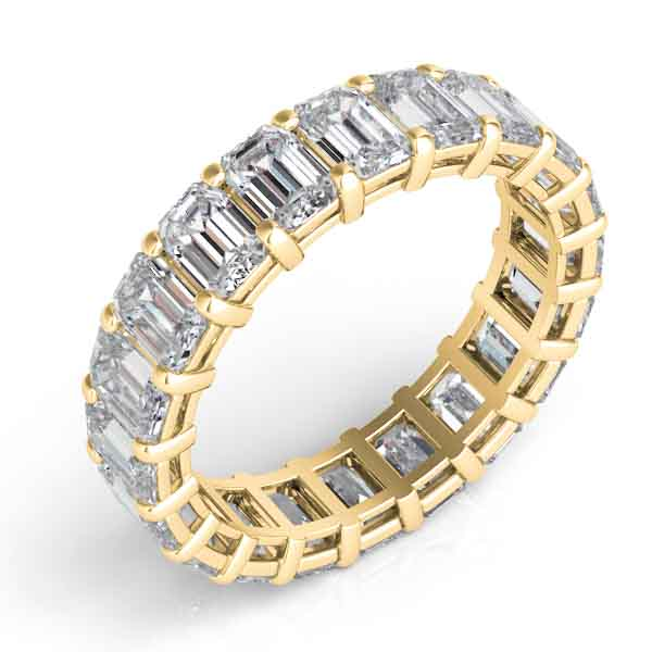 18k Yellow Gold Emerald Cut Eternity Band