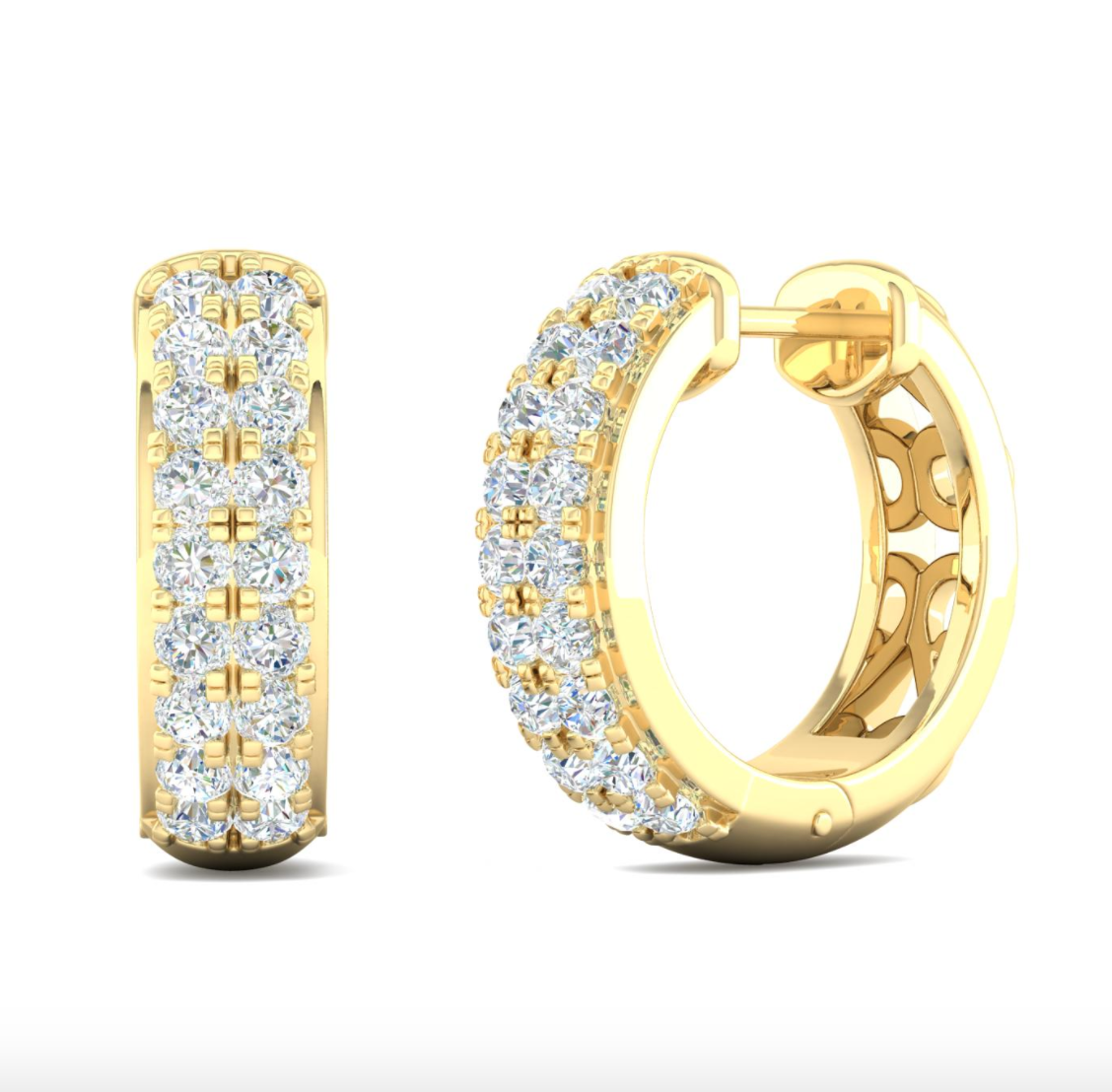 14kt Gold Diamond Hoops / Huggies Style Earrings Available in Two-Tone, White or yellow Gold
