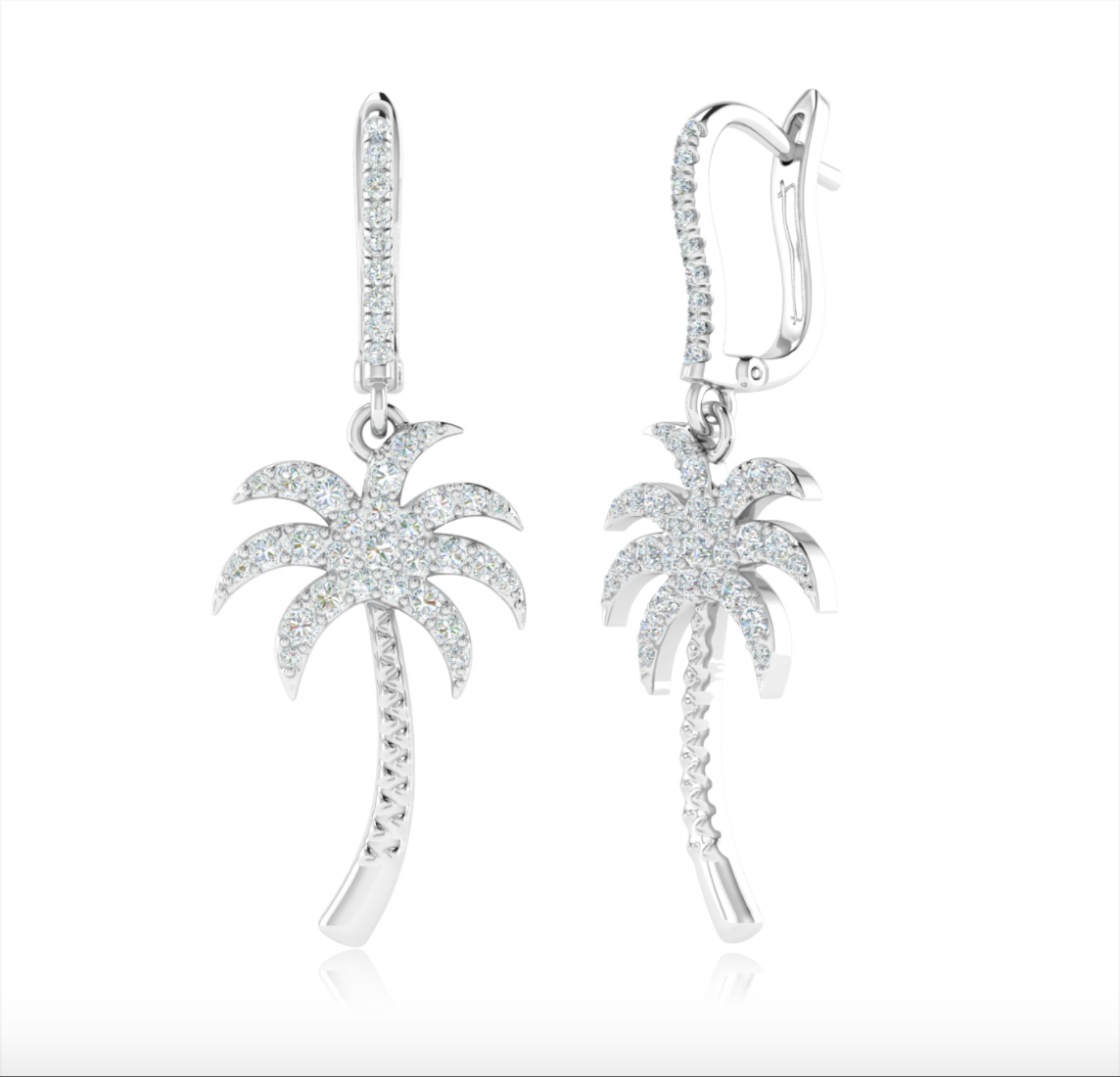 14kt Gold Palm Tree Earrings Available in Two-Tone, White or yellow Gold