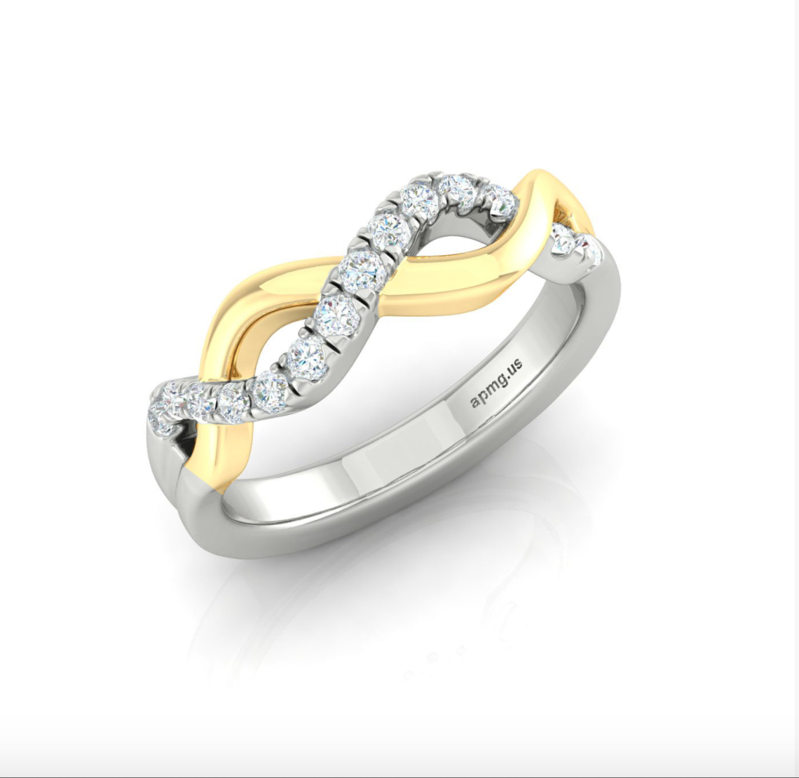 14kt Gold Helix Ring Available in Two-Tone, White or Yellow Gold
