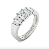 14kt Gold Ring with 5 Row Vertical Channel Set Available in  White or Yellow Gold
