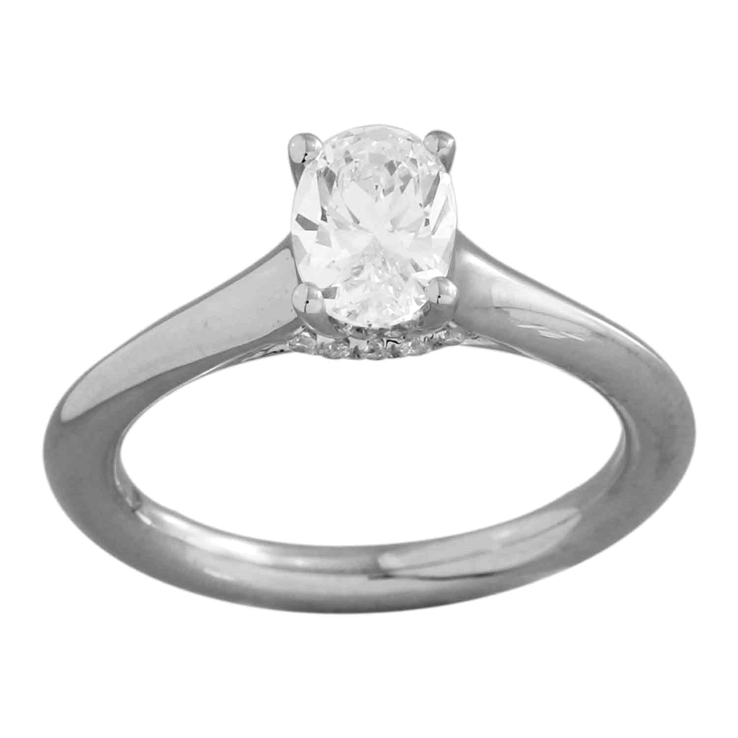 Solitaire Plus Series Engagement Ring-Oval Cut Center Diamond made in 14k White gold