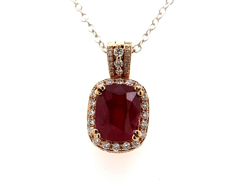 18k rose gold pendant with a GRS certified Mozambique ruby