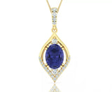14kt Gold Pendant with Tanzanite & Diamonds  Available in White or Yellow Gold