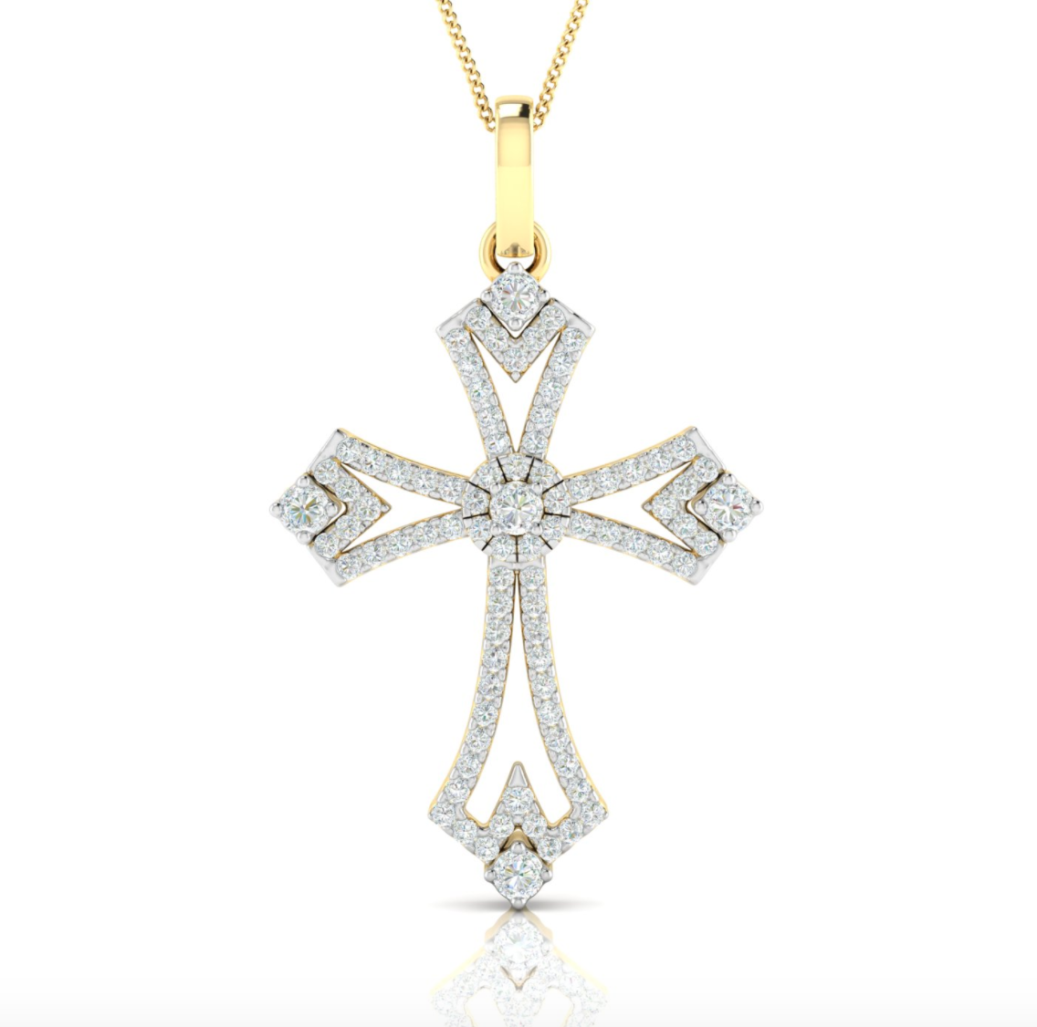 14kt Gold Diamond Cross Slider Pendant Available in White or Yellow Gold