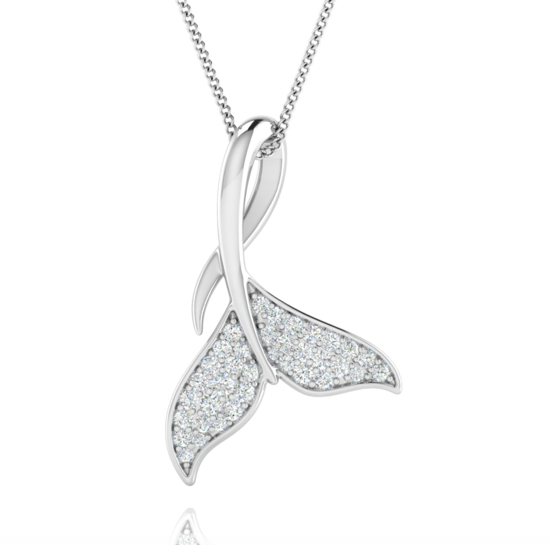 14kt Gold Diamond Whale Tail Slider Pendant Available in White or yellow Gold