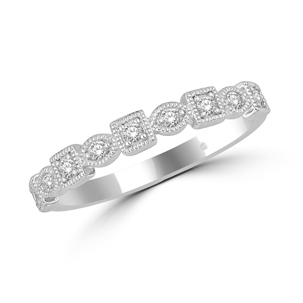 14K White Gold 1/6 Ct.Tw. Diamond Stackable Band