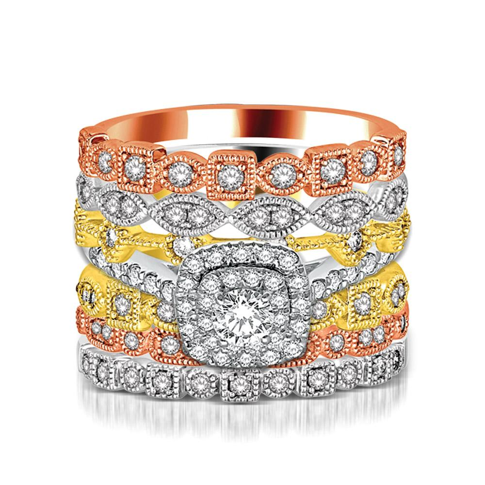 14K Rose Gold 1/10 Ct.Tw. Diamond Stackable Band
