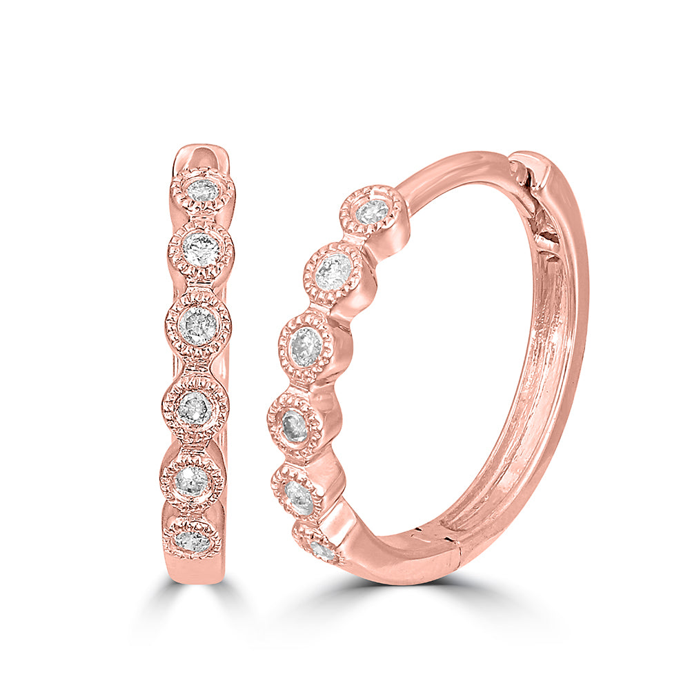14K Rose Gold 1/10 Ct.Tw. Diamond Stackable Hoop Earrings