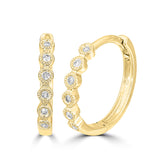 14K Yellow Gold 1/10 Ct.Tw. Diamond  Stackable Hoop Earrings