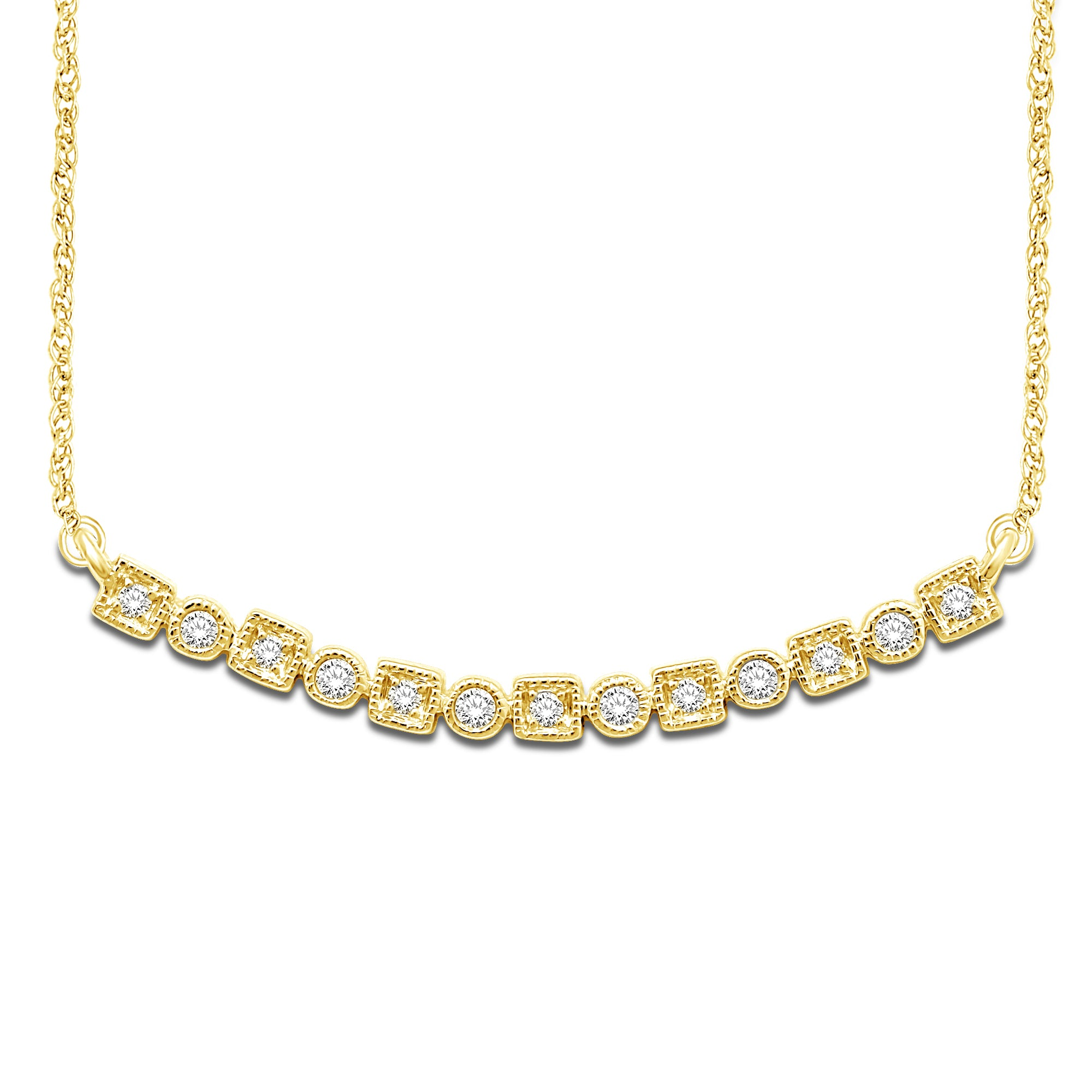 14K Yellow Gold 1/8 Ct.Tw. Diamond Stackable Necklace